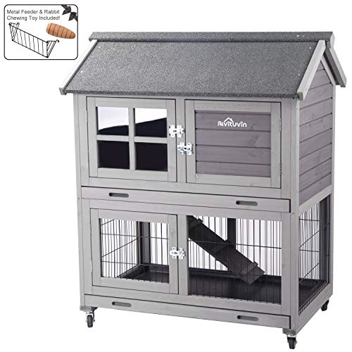 Aivituvin Outdoor Rabbit Hutch, Wooden Bunny Cages Indoor with Deeper Leakproof Tray - Upgrade with Metal Wire Pan (Grey, Rabbit Hutch #15)
