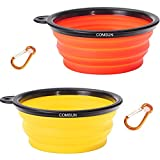 COMSUN 2-Pack Collapsible Dog Bowl, Food Grade Silicone BPA Free, Foldable Expandable Cup Dish for Pet Cat Food Water Feeding Portable Travel Bowl Orange and Yellow Free Carabiner For Sale