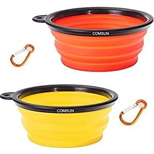 COMSUN 2-Pack Collapsible Dog Bowl, Foldable Expandable Cup Dish for Pet Cat Food Water Feeding Portable Travel Bowl Orange and Yellow Free Carabiner 9