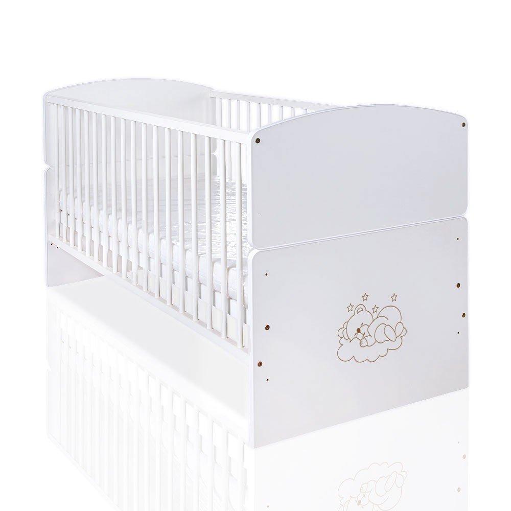 Lit bébé junior Lit Sleeping Bear en blanc (140x 70cm) avec applications Mixibaby