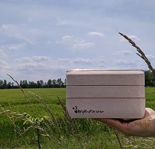 sin BPA Yoonix MYECOBSESSION Lunch Bento Box Eco Friendly 3 compartimentos 900 ml con cubiertos y separador de fibra de trigo Recipiente herm/ético para transportar y conservar alimentos