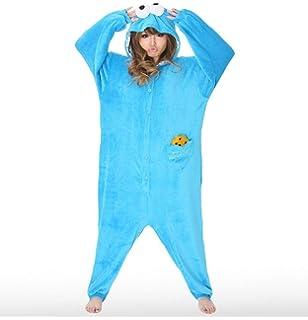 6ded608b6e Adult Cookie Monster Onesie Polar Fleece Pajamas Cartoon Sleepwear ...
