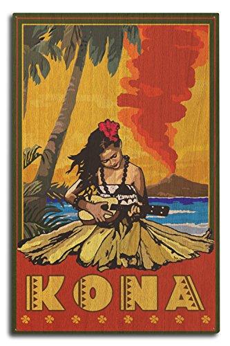 (Lantern Press Kona, Hawaii - Hula Girl and Ukulele (10x15 Wood Wall Sign, Wall Decor Ready to Hang) )