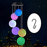 Wind chimes outdoor, gifts for mom, solar wind chimes ,crystal ball/butterfly/hummingbird wind chimes ,outdoor decor, mom gifts,gardening gifts,grandma gifts, plastic hangers wind chimes solar (Color: crystal ball, Tamaño: ball-1)