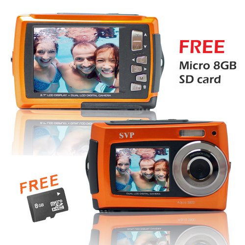 Orange Aqua5800  Waterproof Digital Camera with TWO Screens!