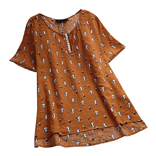 YOcheerful Womens Shirt, Women Cat Print Vintage Blouse Top Lady Spring Summer Tunic Long Sleeve Tee Plus Size Top