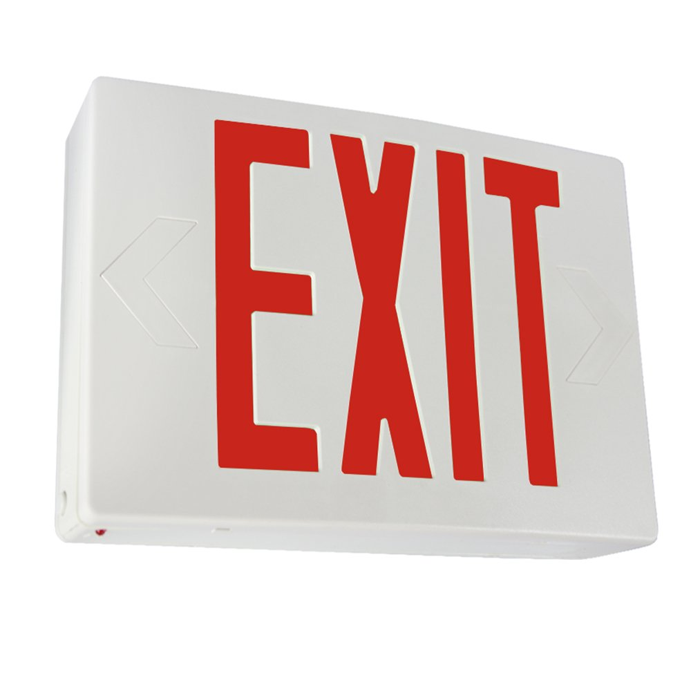 eTopLighting LED Exit Sign Emergency Light, Red Letter, Battery Back-up, Extra Face Plate Included, Fully Automatic Operation, Ceiling or Wall Mounting, Side Mounting, AGG2166