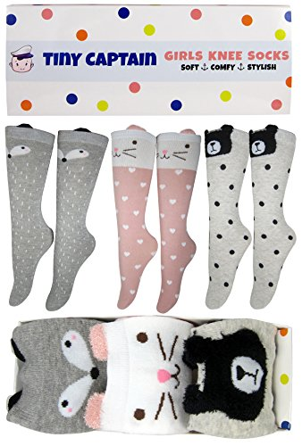 Girls Knee High Socks Best Gift For Girls Ages 4-8 Cartoon Animal Cat Bear Fox Cotton Over Calf Long Socks, 3 Colors, 4-8 Year Old From Tiny Captain (Grey, Pink, - Custom Socks Cotton
