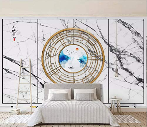 Creative Accents Wood Wall Plate - Mural Photo Wallpaper 3D Ring Creative Wood Grain Art Plate Background Wall Wallpaper Custom Living Room Lobby Studio Mural,330Cm (H) X 410Cm (W)