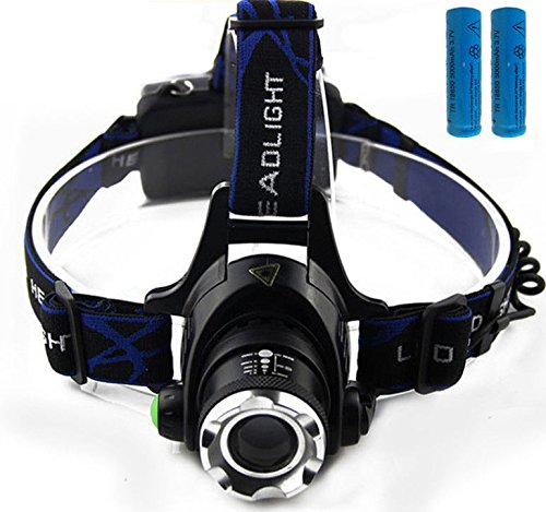 FidgetFidget Flashlight Linterna Frontal Para la cabeza LED Batera Pescar Pesca manos libresLinterna + 2 Bateria Recargable