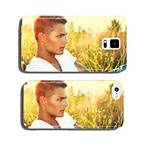 Handsome guy lying on the field. Young man enjoying nature cell phone cover case iPhone6 Plus