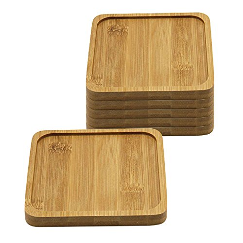 T4U 5 Inch Bamboo Square Bamboo Tray Sandy Beige Set of 6