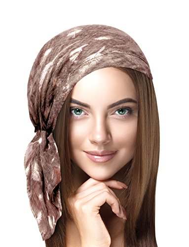 ShariRose Soft Lightweight pre-Tied Headscarf Tichel Weightless Collection! (Mauve Silver Feather Short) ()