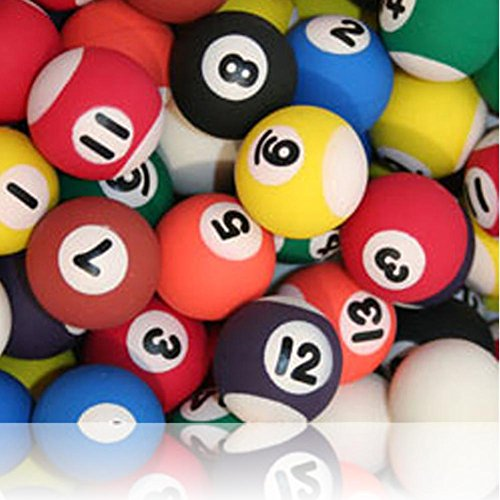 Custom & Unique {27mm} 1 Single, Mid-Size Super High Bouncy Balls, Made of Grade A+ Rebound Rubber w/ Vintage Bar Night Club Pool Hall Table Billiards Sport's Game Numbered Ball Style (Multicolor)