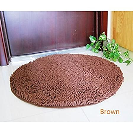 lookshop round bath rug chenille 80 x 80 cm brown amazon co uk rh amazon co uk Bathroom Runner Rug Sets Red Chenille Bathroom Rugs