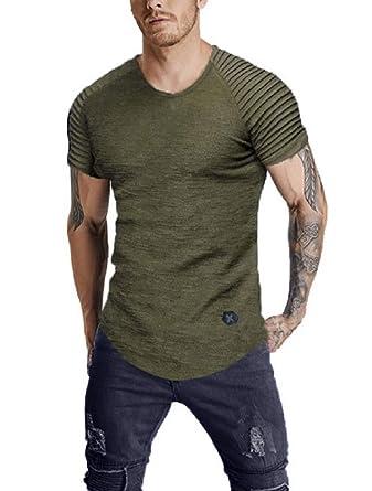 c34fda693 Vanbuy Men's Solid Color Summer Short Sleeve Crewneck Tee Slim Fit T Shirts  Z339-151