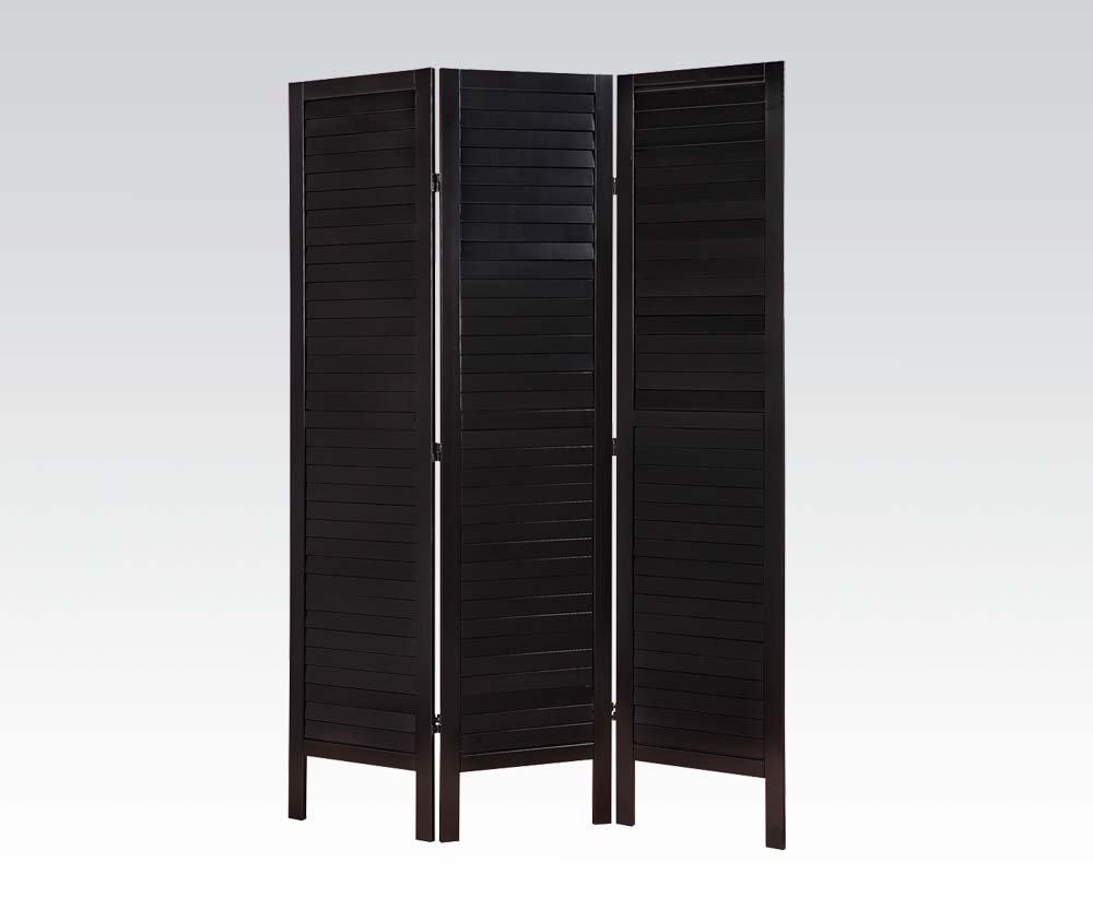 Brand New Trudy (17''x3) x72''H Scenery Design 3-panels Wooden Screen Room Divider- Black Finish