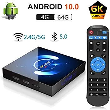 OKEU Android 10.0 TV Box 【4GB RAM+64GB ROM】QPLOVE Q6 TV Box H616 Quad-Core 64bit Cortex-A53 con 5GHz / 2.4GHz WiFi ,BT 5.0,6K UHD H.265 Smart TV Box: Amazon.es: Informática