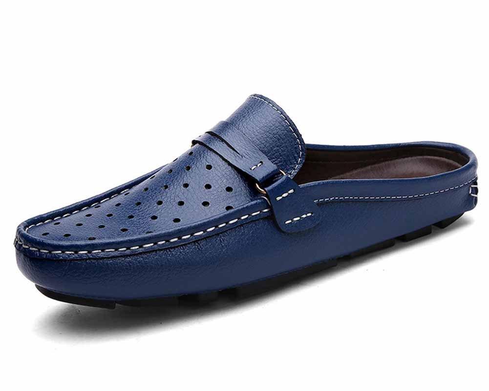 GLSHI Männer British Lightweight HohlSandale 2018 Neue Lederpuschen Breathable Loafer Schuhe Weichen Boden Freizeitschuhe