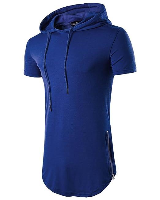 Hombres Camisa Camiseta Sudadera Capucha Casual Mangas Cortas: Amazon.es: Ropa y accesorios