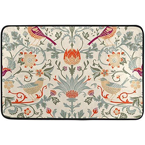 (Starocle William Morris Flower Doormat Indoor/Outdoor Washable Garden Office Door Mat,Kitchen Dining Living Hallway Bathroom Pet Entry Rugs with Non Slip Backing)