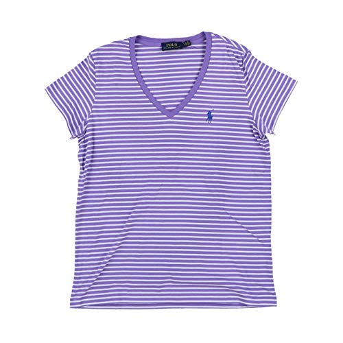 Polo Ralph Lauren Womens V-Neck Jersey T-Shirt (Small, Purple White Stripes)