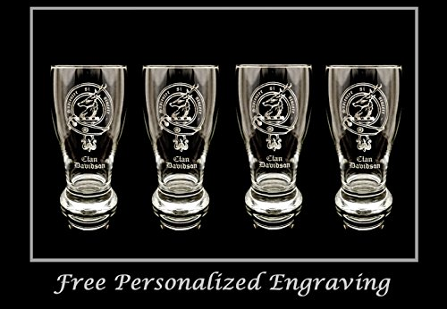 Beer Scottish (Clan Davidson Scottish Crest Pint Glass Set of 4- Free Personalized Engraving, Family Crest, Pub Glass, Beer Glass, Custom Beer Glass)