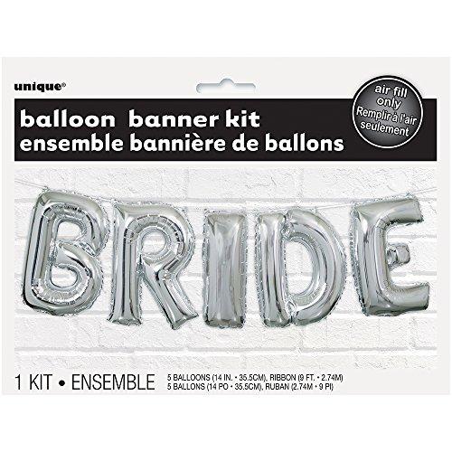 [해외]호일 실버 신부 결혼식 편지 풍선 배너 키트/Foil Silver Bride Wedding Letter Balloon Banner Kit