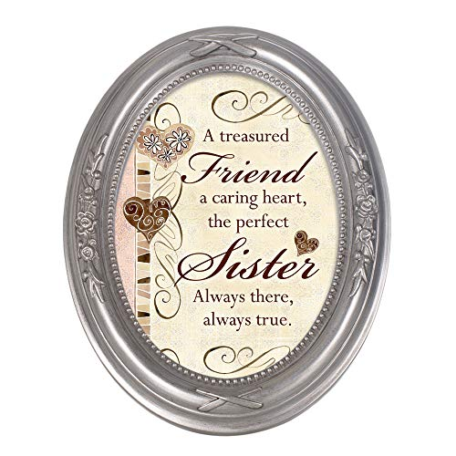Cottage Garden A Treasured Friend, A Caring Heart Metallic Floral 5 x 7 Oval Table Top and Wall Photo Frame