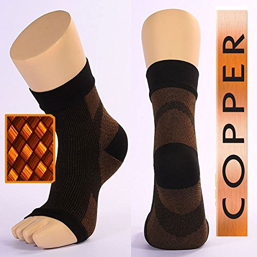 Compression sock Recovery Ankle Sleeve, Copper Anti-Fatigue Highest Copper Content. Infused Fit Ankle Support Brace / Wrap / Sock / Stabilizer For For Foot, Heel, Ankle, Arch, circulation