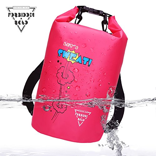 Forbidden Road 5L 10L 15L Waterproof Dry Bag ( 8 Colors) Dry Sack Roll Top Dry Compression Sack Keeps Gear Dry for Kayaking Boating Camping Canoeing Fishing Skiing Snowboarding (Pink, 2L)