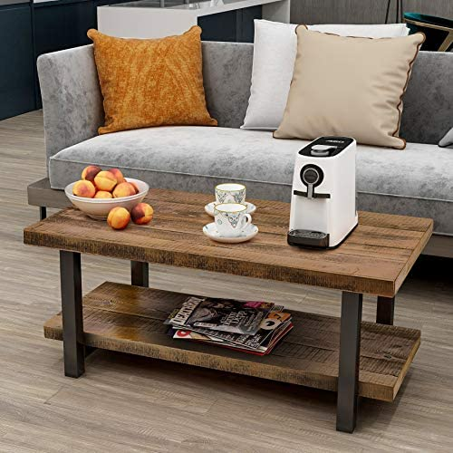 P PURLOVE Coffee Table Rustic Style Solid Wood MDF and Iron Frame Rectangle Coffee Table