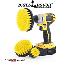New Quick Change Shaft 3 Pack Medium Yellow Drill Brush Grout, Tile, Shower Stall and Door Track, All Purpose Bathroom Cleaning Brushes by Drillbrush