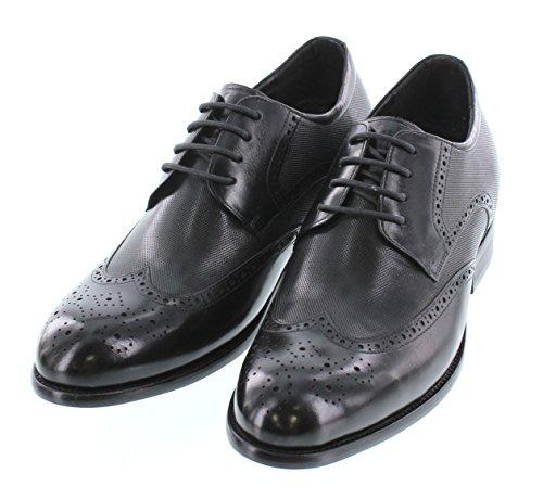 Calto Y1022-3 Pouces De Hauteur - Hauteur Augmentant Les Chaussures Dascenseur - Chaussures Habillées Noires À Lacets