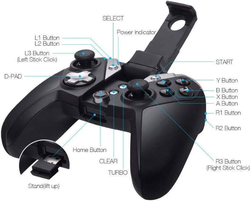 Color : Black, Size : One Size DEPRQ Gamepad Gamepad Game Controller Joystick Bluetooth 2.4G Wireless Game Game Controller