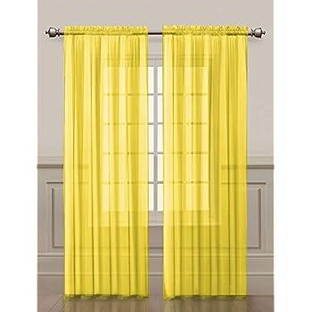 Amazon.com: Bright Yellow Sheer Curtain Panels: Home & Kitchen