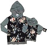 Little Girl Kids Long Sleeve Floral Print Cotton Girls Hoodie Sweater Grey 2T XS (900102HOODIE)