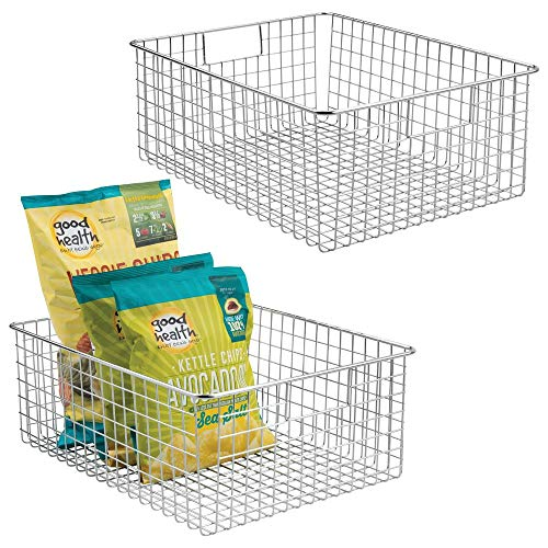 mDesign Farmhouse Decor Metal Wire Food Organizer Storage Bin Baskets with Handles for Kitchen Cabinets, Pantry, Bathroom, Laundry Room, Closets, Garage - 2 Pack - Chrome (Freezer Baskets Large)