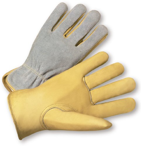 (West Chester 993K Select Grain/Split Cowhide Leather Driver Work Gloves: Keystone Thumb, Large, 12 Pairs)