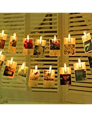 LED String Fairy Lights Garland Card Photo Clip Photo Lights Hanging Lights for Bedroom Wedding Indoor Outdoor Valentines Day Decoration