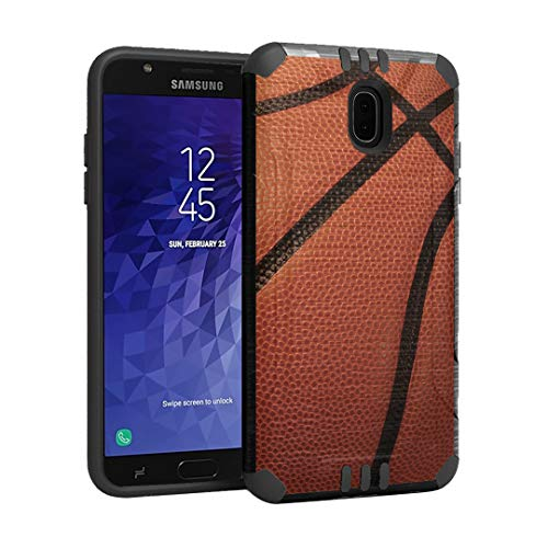 (Capsule Case Compatible with Samsung Galaxy J7 2018 (J737), J7 Star, J7 Aero, J7 Refine, J7V 2nd Gen, J7 Crown, J7 Eon [Hybrid Dual Layer Silm Defender Case Black] - (Basketball) )