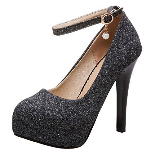 COOLCEPT Mujer Moda Correa de Tobillo Fiesta Zapatos Plataforma Tacon de Aguja Bombas Zapatos Tamano Grande (38 EU, Black)