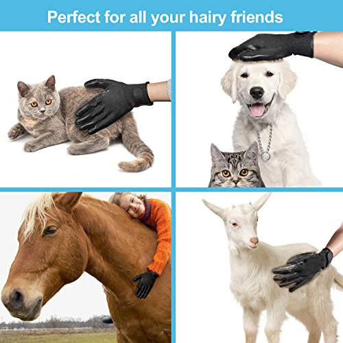 CASFANSTA Pet Grooming Glove, Gentle Pet Deshedding Glove for Dogs, Cats, Horses Effective Pet Hair Remover Brush Massage Gloves -1 Pair by CASFANSTA (Image #5)