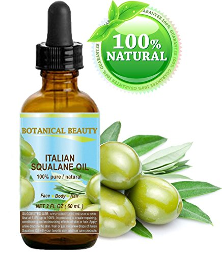 SQUALANE Italian Olive. 100% Pure / Natural / Undiluted Oil. 2 fl.oz- 60ml. 100% Ultra-Pure Moisturizer for Face , Body & Hair. Reliable 24/7 skincare protection. by Botanical Beauty.