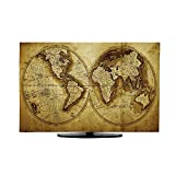 vanfan TV Dust Cover Antique map of The World Cord Cover for Wall Mounted TV W36 x H60 INCH/TV 65'