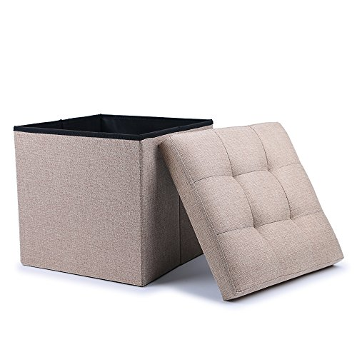 WoneNice Folding Storage Ottoman Cube Foot Rest Stool Seat (Linen Beige) ()