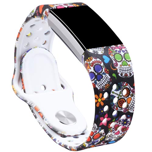 Allbingo Cute Bands Compatible Fitbit Charge 2, Breathable Floral Strap Women Men Replacement Sport Wrist Band Small Large with Air Holes (Skeleton Flowers, Small)