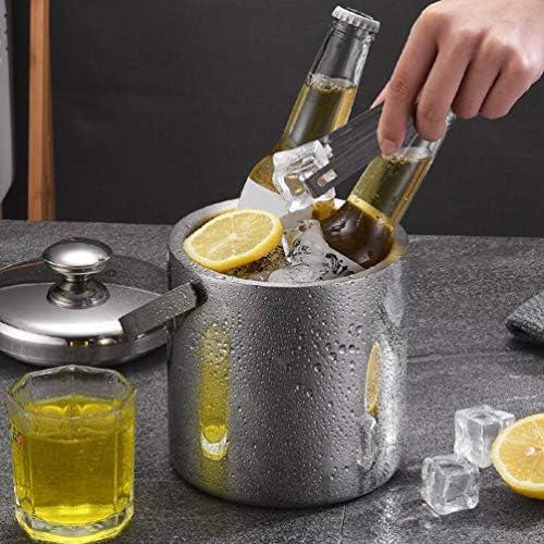 Hemoton Eiskübel Doppelwandiger Eisbehälter aus Edelstahl Isolierter Eiswürfeleimer mit Zange Deckel Sieb (Silber 1 3 L)