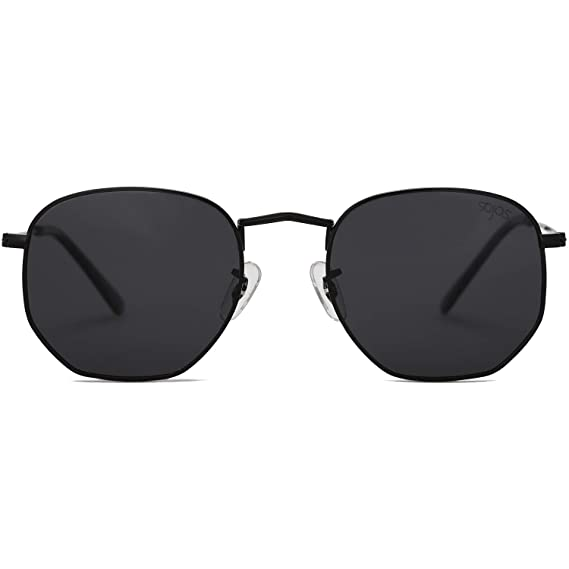 ed6ddc047ed SOJOS Small Square Polarized Sunglasses for Men and Women Polygon Mirrored  Lens SJ1072 With Black Frame