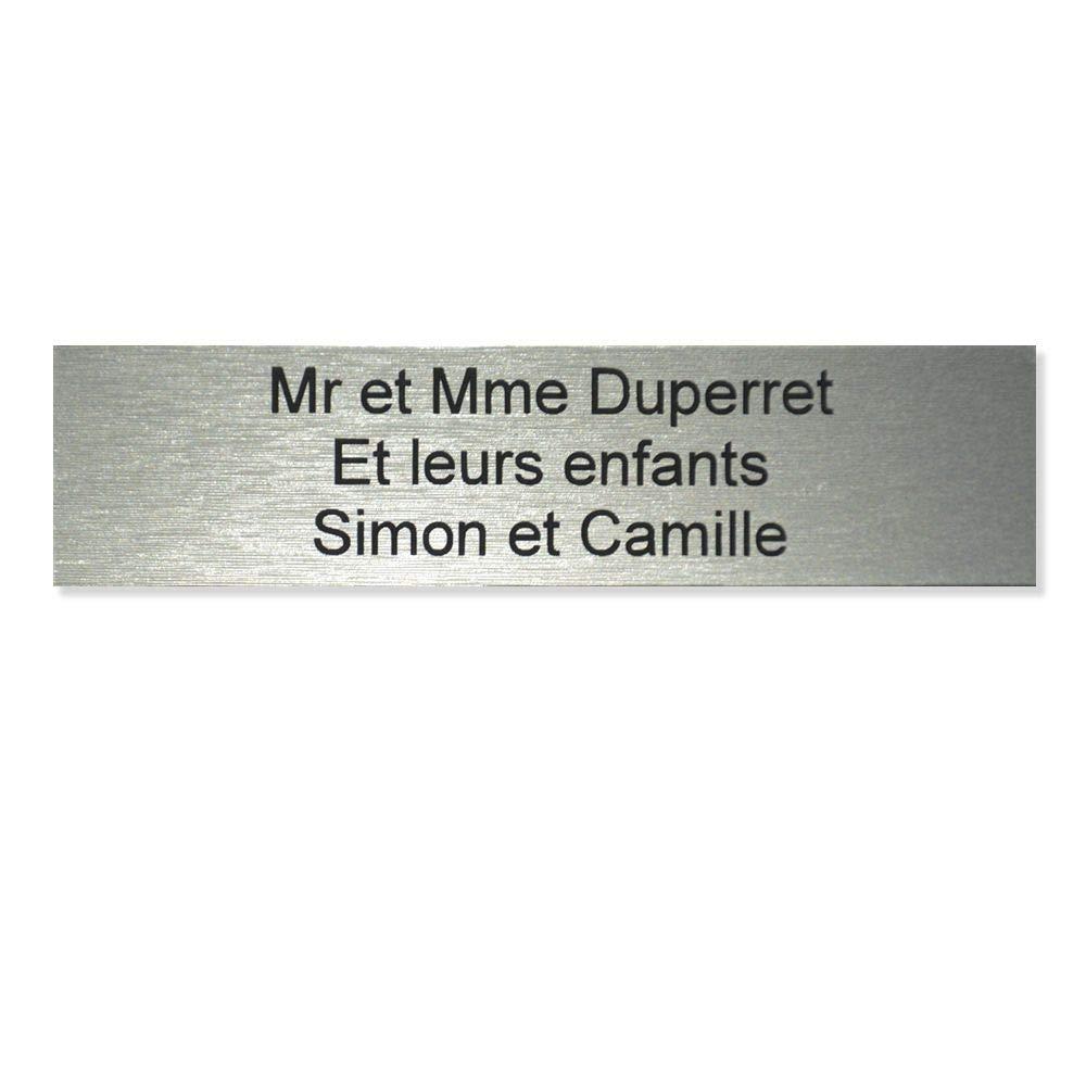 plaque boite aux lettres Decayeux Lettres blanches 2 lignes 100x25mm grise lettres blanches 10 cm Plaque grise